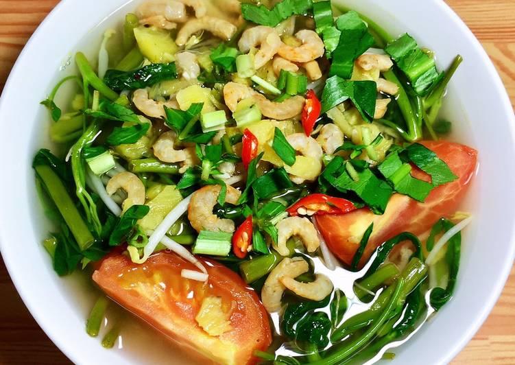 Cách nấu canh chua rau muống tôm khô ngon khó cưỡng