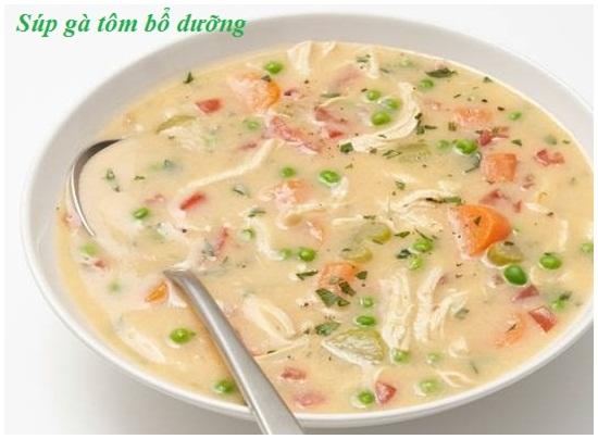 Cách nấu súp gà tôm
