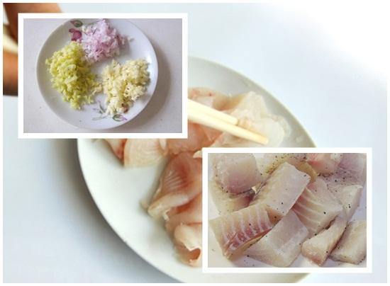 Ướp các loại gia vị cho cá lóc
