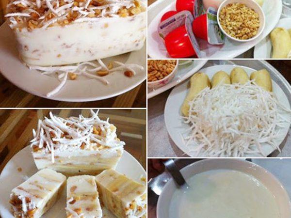 Hoàn thành món kem chuối dừa thơm ngon